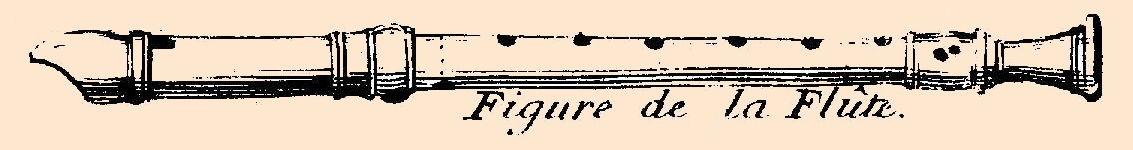 drawing of a recorder in Hotteterre's fingering chart showing a double hole