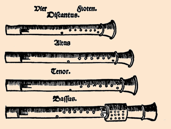 a recorder quartet drawn by Agricola